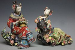 Shiwan Chinese Ceramic Lady Figurine Masterpiece Birds & Flowers Sisters