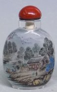 Snuff Bottle - Genuine Inside Hand Painting Mountain & Village Landscape