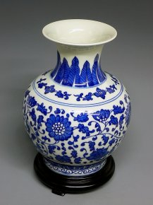 Painted Blue & White Porcelain Vase Jingdezhen Stamped
