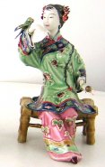Porcelain / Ceramic Dolls Oriental Chinese Lady Figurine Bird Playing
