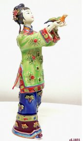 Chinese Woman Ceramic Porcelain Figurine-Freedom Bird