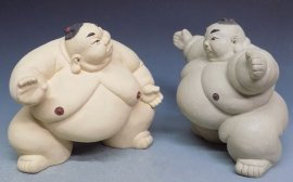 Japanese Sumo Pottery Ceramic Doll Figurine Statue