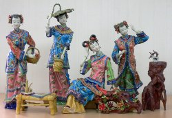 Shiwan Porcelain Lady Figurine Master Chinese Four Beauty Sister