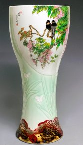 Large Unique Masterpiece Hand Painted Porcelain Vase Birds Flowers