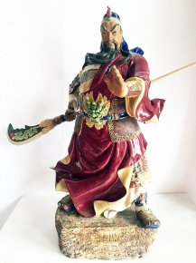 "21"" Guan Gong Ancient Chinese Warrior Hero Black Dragon Figurine Statue"