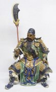 Ancient Chinese Famous Warrior Guan Gong Ceramic Figurine Statue