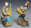 Chinese Oriental Musician Lady Porcelain / Ceramic Figurine Statue PAIR