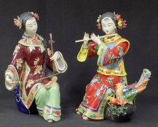 PAIR Chinese Ceramic Porcelain Doll Lady Figurine Musician Flute & Erhu