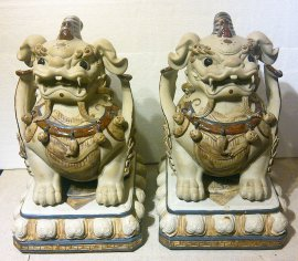 "14""H LARGE Chinese Feng Shui Fu Foo Dog Imperial Guardian Lions"