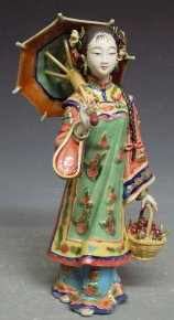 Chinese Porcelain Figurine - Oriental Women Sunshine