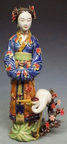 NEW Oriental Delicate Chinese Ceramic / Porcelain Girl Crane Figurine